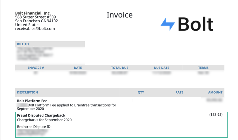 bolt invoice braintree
